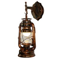 Vintage Lantern Wall Lamp Antique Copper Personalized Kerosene Lamp Fashion Iron Wall Lights Cafe Aisle Lights