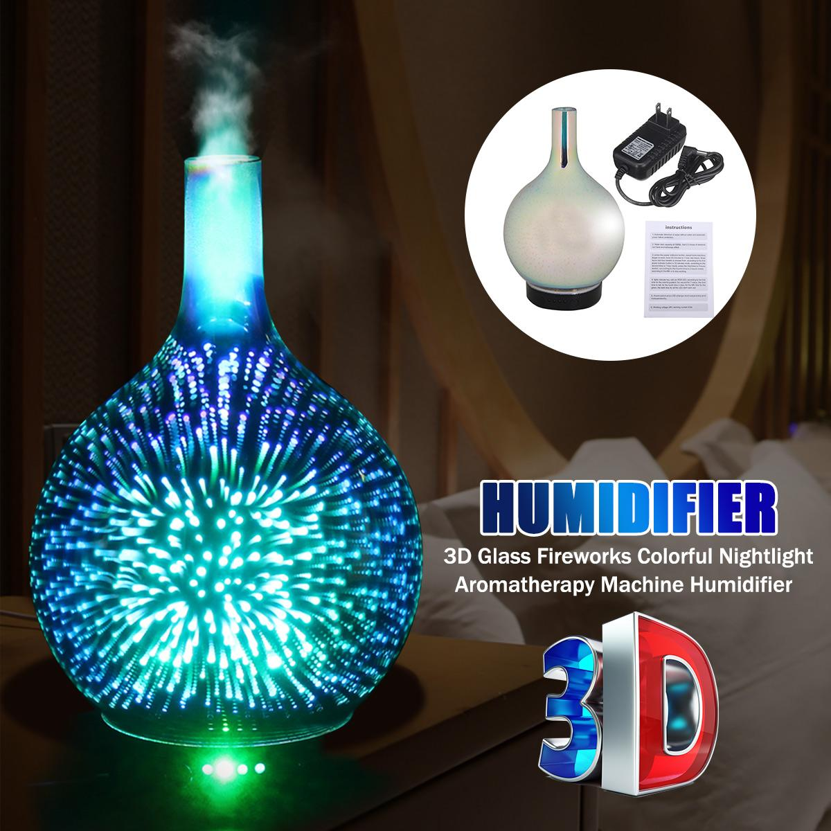 Air Humidifier 3D LED Night Light Fireworks Glass Vase Aroma Essential Oil Diffuser Electric Ultrasonic Mist Maker For Home RoomAir Humidifier 3D LED Night Light Fireworks Glass Vase Aroma Essential Oil Diffuser Electric Ultrasonic Mist Maker For Home Room