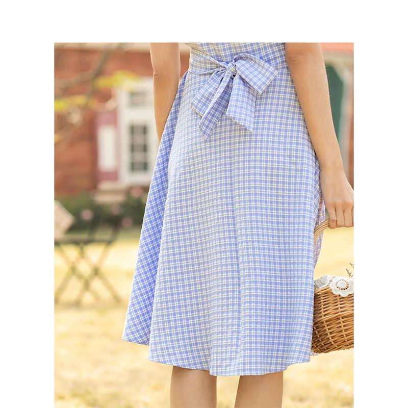 INMAN 2019 Лето Новое поступление Элегантный v-образный вырез подчеркивающий талию ТРАПЕЦИЕВИДНОЕ тонкое платье на пуговицах для молодых женщин