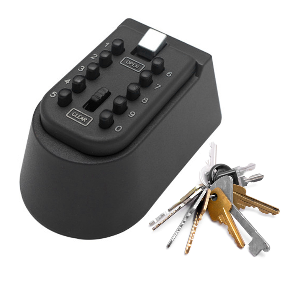 Image 5 - Wall Mounted Outdoor Key Storage Lock Box 10 Digit Push Button Combination Password Key Safe Box Resettable Code Key Holder-in Safes from Security & Protection