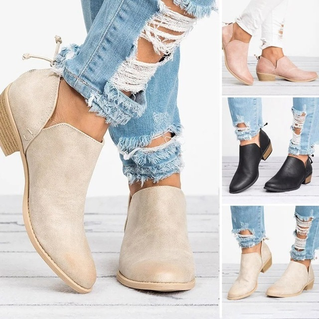 Rome Designers 2019 New Spring Autumn Women Shoes Black High Heels Boots Ankle Boots Chunky Size 34-43