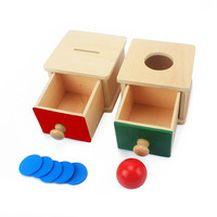 Infant & Toddlers Toy Baby Wooden Coin Box Piggy Bank Learning Educational Preschool Training Red+Green