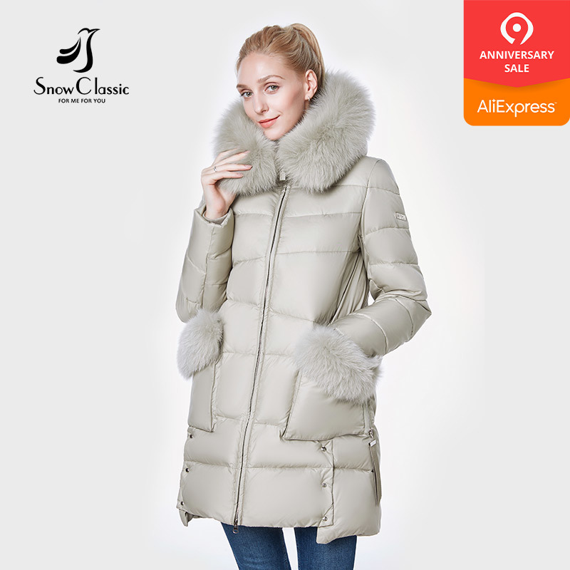SnowClassic 2018 New Jacket Women Camperas Mujer Abrigo Invierno Coat Women  Park Fox Hair Hat Pocket Thick Side Design