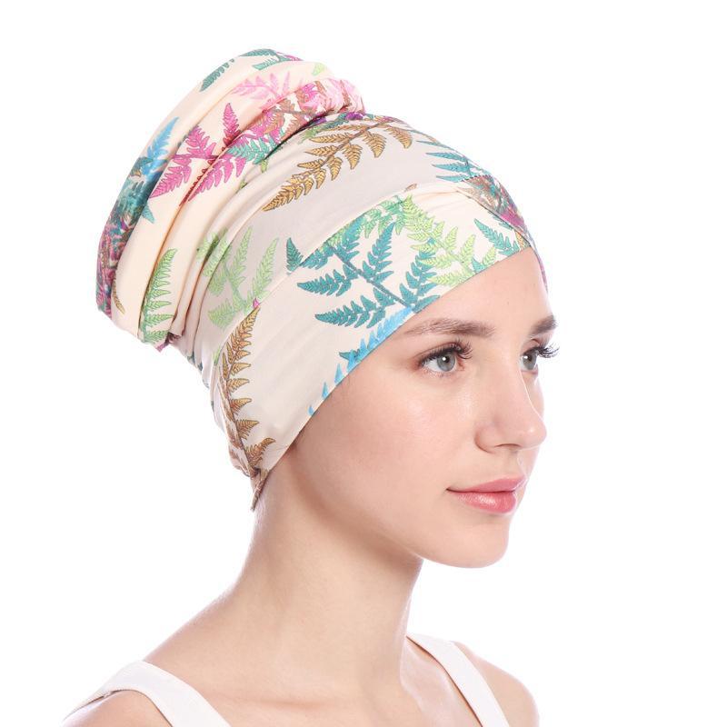Image 5 - Fashion Women Muslim Hair Loss Cap Flower Print Islamic Islam  Turban Head Wrap Cover Cancer Hat Chemo Cap Bonnet Beanie  SkulliesWomens Skullies