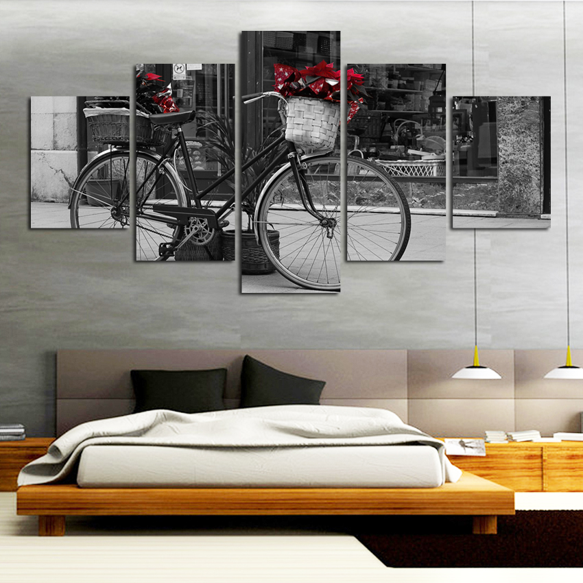 HD Printed Painting Modular Canvas Home Decor 5 Pieces Black White Bicycle Wall Art Retro Poster Frame Pictures .