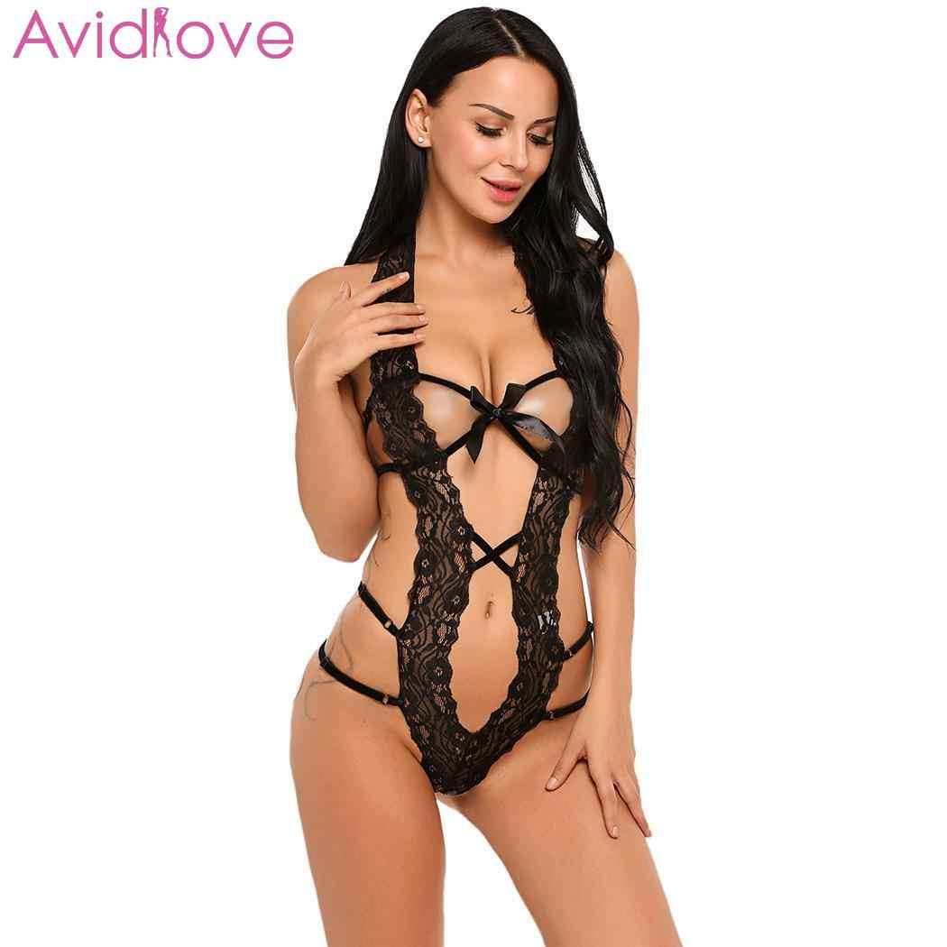 76b328fcc53 ... Avidlove Sexy Lingerie Bodysuit Erotic Underwear Sleepwear Women Sexy  One Piece Lingerie Bodysuit Halter Lace Teddy ...