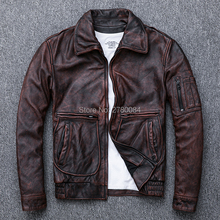 GU.SEEMIO cowhide genuine leather coat male  natural leather