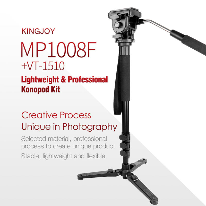 Image 3 - Kingjoy Mp1008F Set Professional Monopod Set Dslr For All Models Camera Tripod Stand Para Movil Flexible Tripe Stativ Slr Dslr-in Live Tripods from Consumer Electronics
