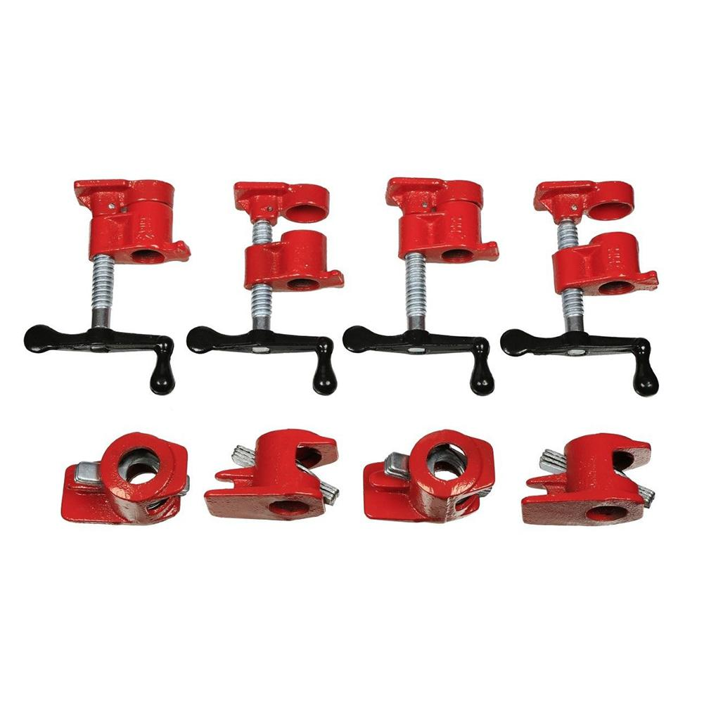 Adeeing 4Pcs 3/4in Wood Gluing Pipe Clamp Set Heavy Duty PRO Woodworking Cast Iron RedAdeeing 4Pcs 3/4in Wood Gluing Pipe Clamp Set Heavy Duty PRO Woodworking Cast Iron Red