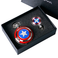 Captain American Star Pocket Watch Necklace Chains Fobs Shield Clock Pendant Vintage Quartz Pocket Watch Chrismas Gifts