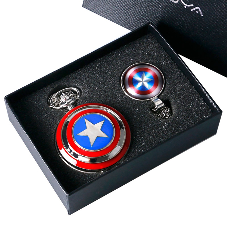 Vintage Quartz Pocket Watch Captain American Star Pocket Watch Necklace Chains Fobs Shield Clock Pendant Relogio Feminino Gifts