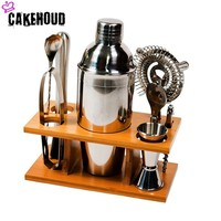 CAKEHOUD Cocktail Shaker Set 8 Piece Set Professional Bar Tool With Bamboo Bracket Kitchen Bar Perfect Family Cocktail Set