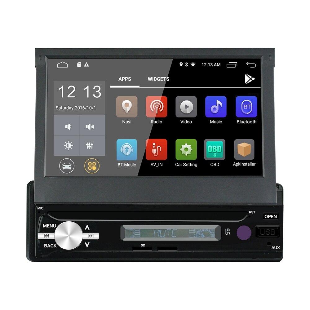1Din Android 6,0 7 дюймов Автомобильный емкостный экран мультимедийный плеер Радио 1 г + 16 Гб Bluetooth 4,0 навигации