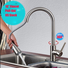 Flexible Single Hole Handle Brushed Nickel Swivel Spray Pull Out Kitchen Faucet Rotation Mixer Stream Sprayer Durable Sink Tap gear shift