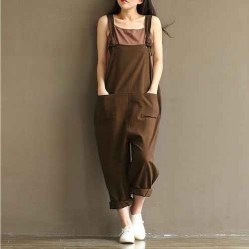 dffb8c0650 ... New Style Casual Jumpsuit Women Girls Loose Jumpsuit Strap Dungaree  Harem Trousers Stylish Ladies Overall Pants ...