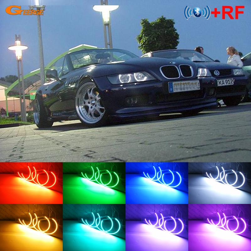 For BMW Z3 1999 2002 HALOGEN headlight Excellent RF Bluetooth Controller Multi Color Ultra bright RGB