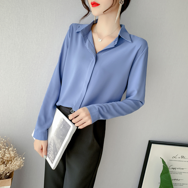 2019 New Spring Brief Women Shirts Full Sleeve Solid Chiffon Blouse Shirt White Blue Skin Pink Apricot 3363