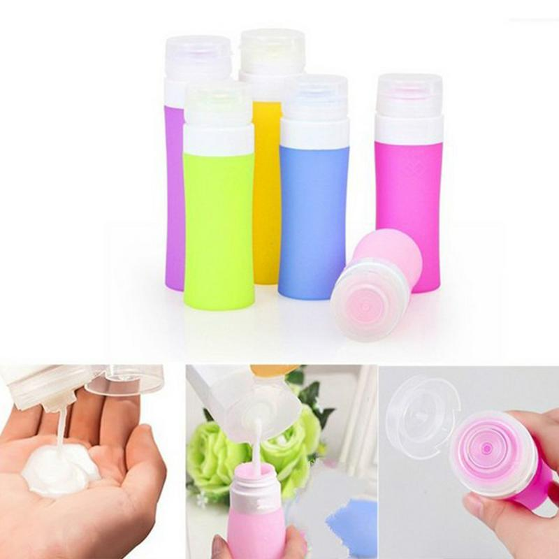 80ml Silicone Bottle Travel Cosmetic Squeeze Press Bottle Packaging Bottle Lotion Shampoo Bath Container Press Bottle Folding