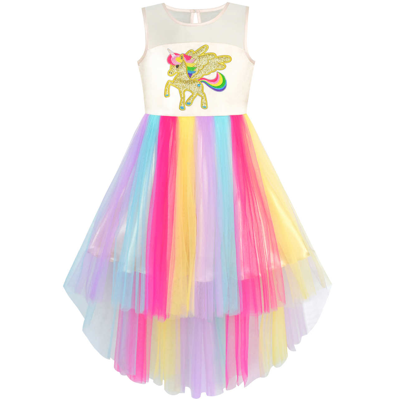 8493a34f5eab5 Girls Dress Embroidered Unicorn Rainbow Halloween Costume 2019 ...