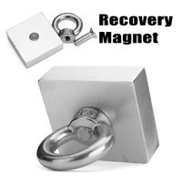 1Pc New 50x50x20mm Recovery Magnet Cuboid Square Block Powerful Neodymium Recovery Magnet Metal Detector with Handle Ringscrew