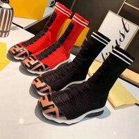 Новые женские ботинки носки, Модные Разноцветные Повседневные ботинки из эластичной ткани на плоской подошве, женские ботильоны на танкетк