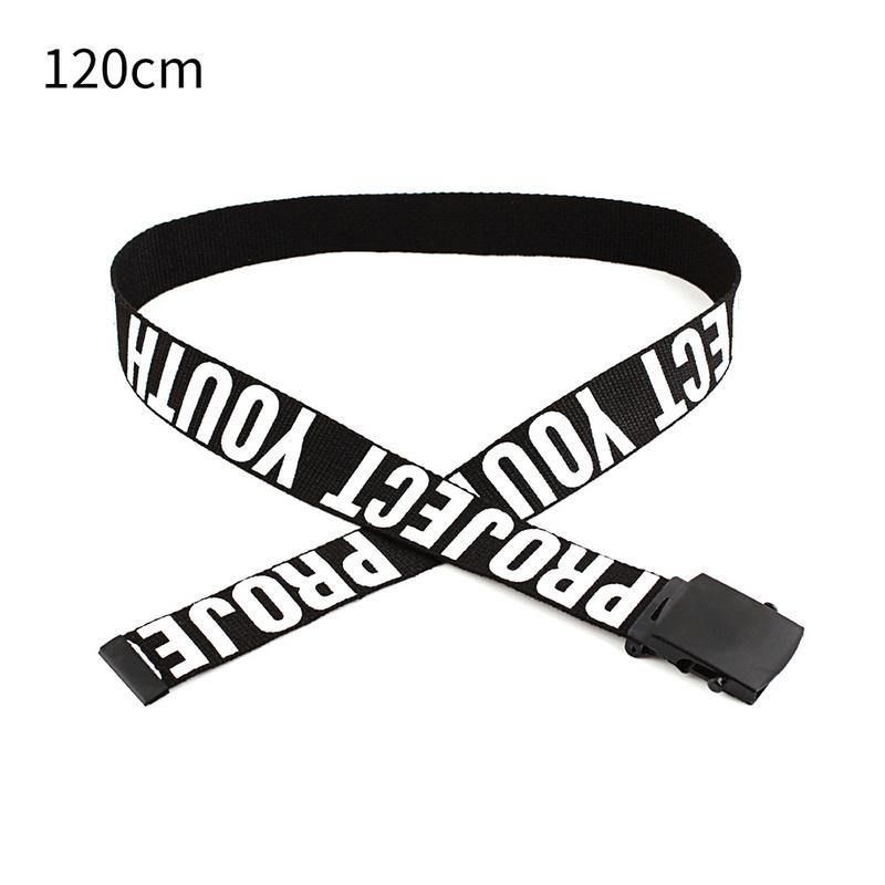 Gothic Harajuku Street Belt Canvas Punk Letters Printed Decoration Loop Shaped Mental Buckle Jeans Waist