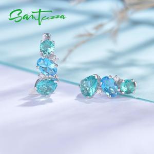 Image 5 - SANTUZZA ピアス女性 925 スターリングシルバースタッドピアススパークリンググリーンブルークリスタルトレンディなファッションジュエリー