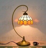 Baroquetiffany настольные лампы страна Стиль Витражная Лампа для Спальня прикроватная лампа E27 110 240 v