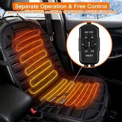 1 Pair 12V Universal Car Heated Seat Cushion Heated Seat Covers 30W-38W 45-65 Degree Adjustable Auto Heating Pad Winter Cushion