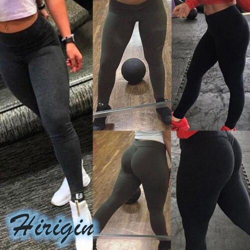 Women Casual Leggings Women Elastic High Waist Fitness Sports Leggings Casual Solid Skinny Sports Leggings