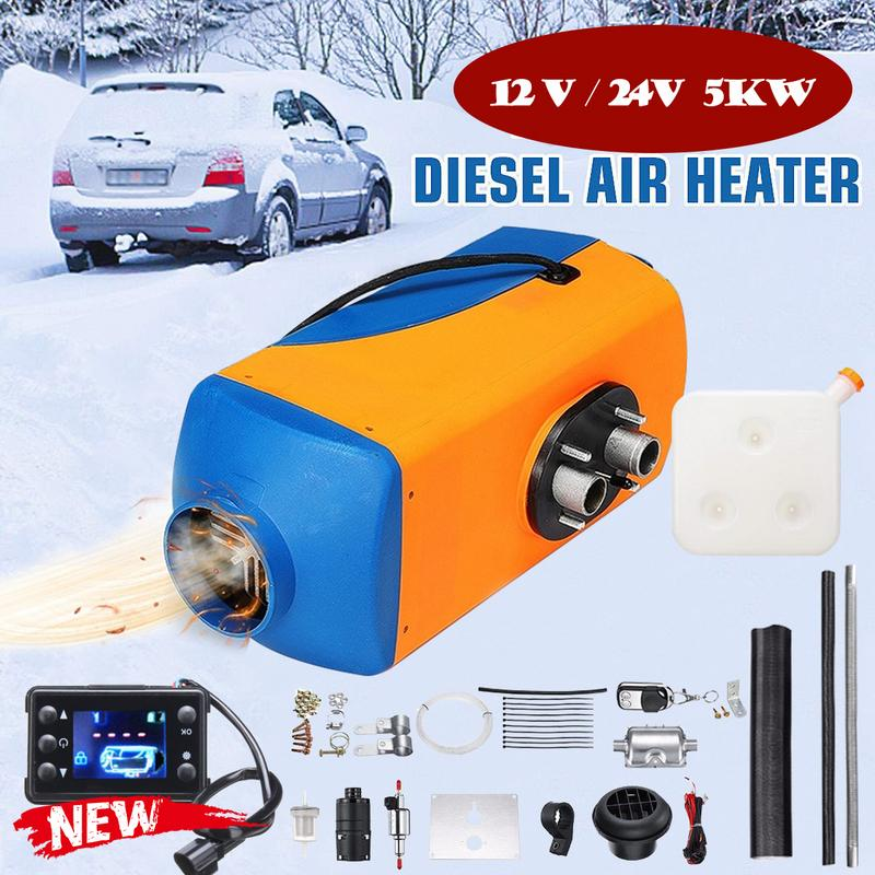 24V 5KW Diesel Air Heater Fuel Heating LCD Monitor Air Filter Silencer kit hM