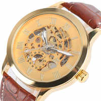 SHENHUA Transparent Gold Skeleton Mechanical Watch for Men Automatic Self Wind Top Brand Luxury Men Wrist Clock Leather Band