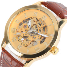 SHENHUA Transparent Gold Skeleton Mechanical Watch for Men Automatic Self Wind Top Brand Luxury Men Wrist Clock Leather Band все цены