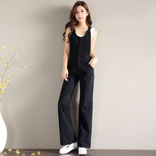 2019 New Spring Women Overalls Loose Denim Jumpsuit Casual High Waist Jeans Sleeveless Jumpsuits Rompers цена 2017