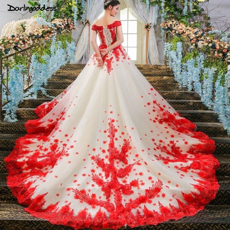 Us 164 8 40 Off Robe De Mariage Luxury Red Lace White Champange Princess Wedding Dresses 2019 African Black S Shoulder Puffy Ball Gowns In