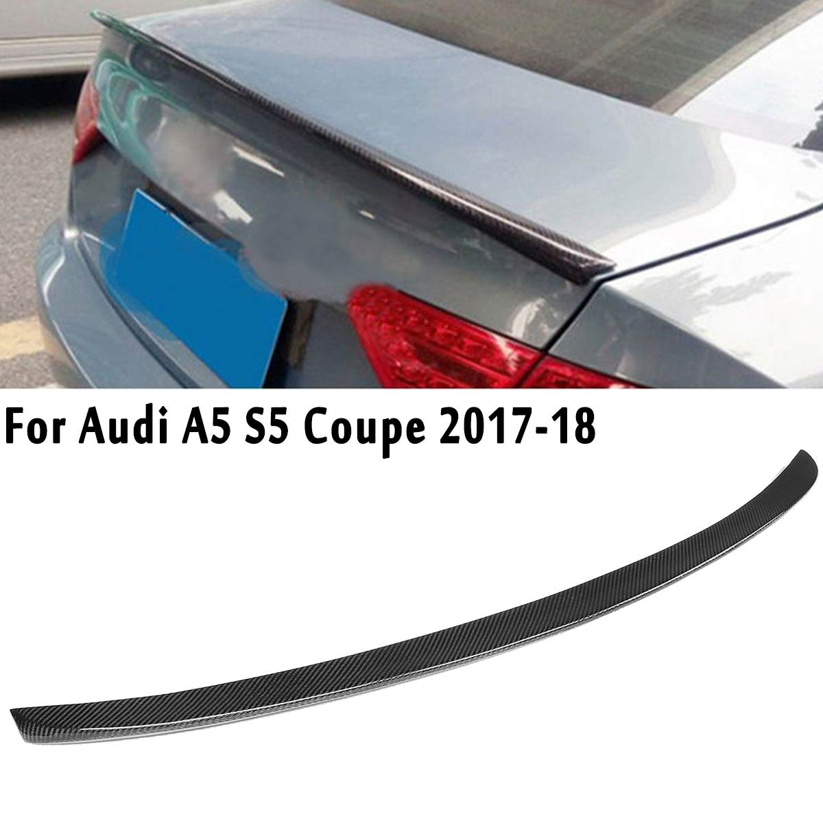 Full Real Carbon Fiber Material S Style Rear Trunk Spoiler Lip For Audi A5 S5 For Coupe 2 Door 2017-2018Full Real Carbon Fiber Material S Style Rear Trunk Spoiler Lip For Audi A5 S5 For Coupe 2 Door 2017-2018