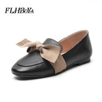 Lady Fashion low heels Butterfly Knot square toe Genuine leather shoes Concise elegant Square Heel office Shoes For Women