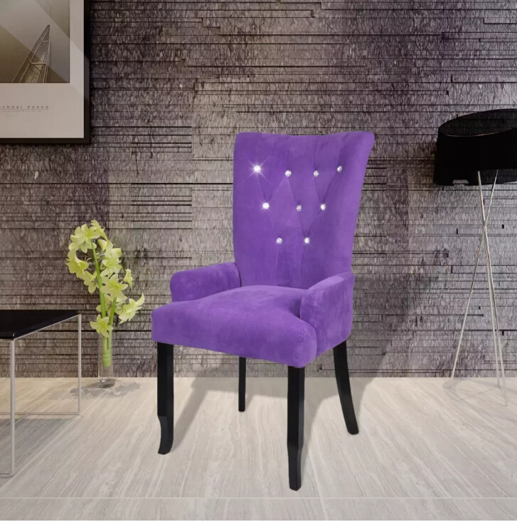 VidaXL Luxury Armchair Velvet-Coated Long Back Europe Style Chair Fauteuil Avec Cadre En Bois Velours Violet Restaurant Hotel