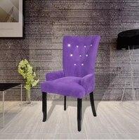 VidaXL Luxury Armchair Velvet Coated Long Back Europe Style Chair Fauteuil Avec Cadre En Bois Velours Violet Restaurant Hotel