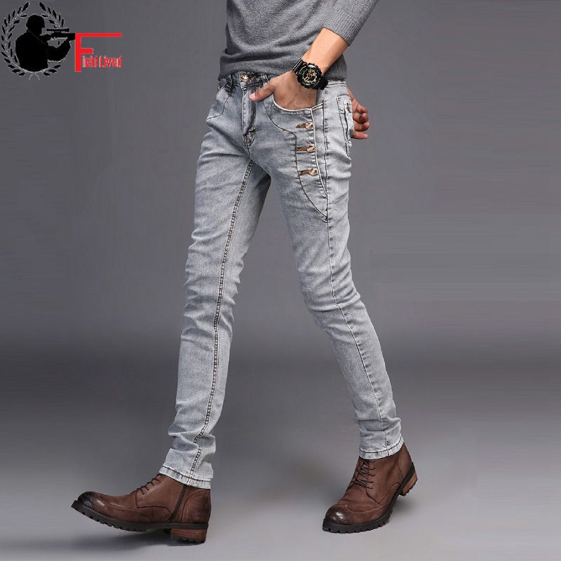 Jeans Men Young 2019 Fashion Trend Korean Style High Street Streetwear Skinny Slim Fit Button Denim Pant Male Trouser Black Blue