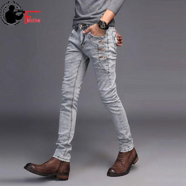 3025bb5e8e Jeans Men Young 2019 Fashion Trend Korean Style High Street Streetwear Skinny  Slim Fit Button Denim Pant Male Trouser Black Blue