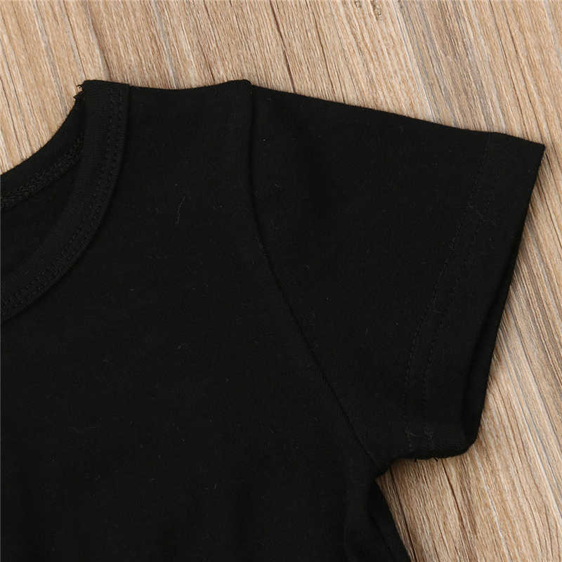แฟชั่นเด็กวัยหัดเดินเด็กสาวเด็กเด็กสีดำ Crop Tee เสื้อ T สั้นกางเกงเสื้อผ้าชุด Sunsuit ชุดเด็ก