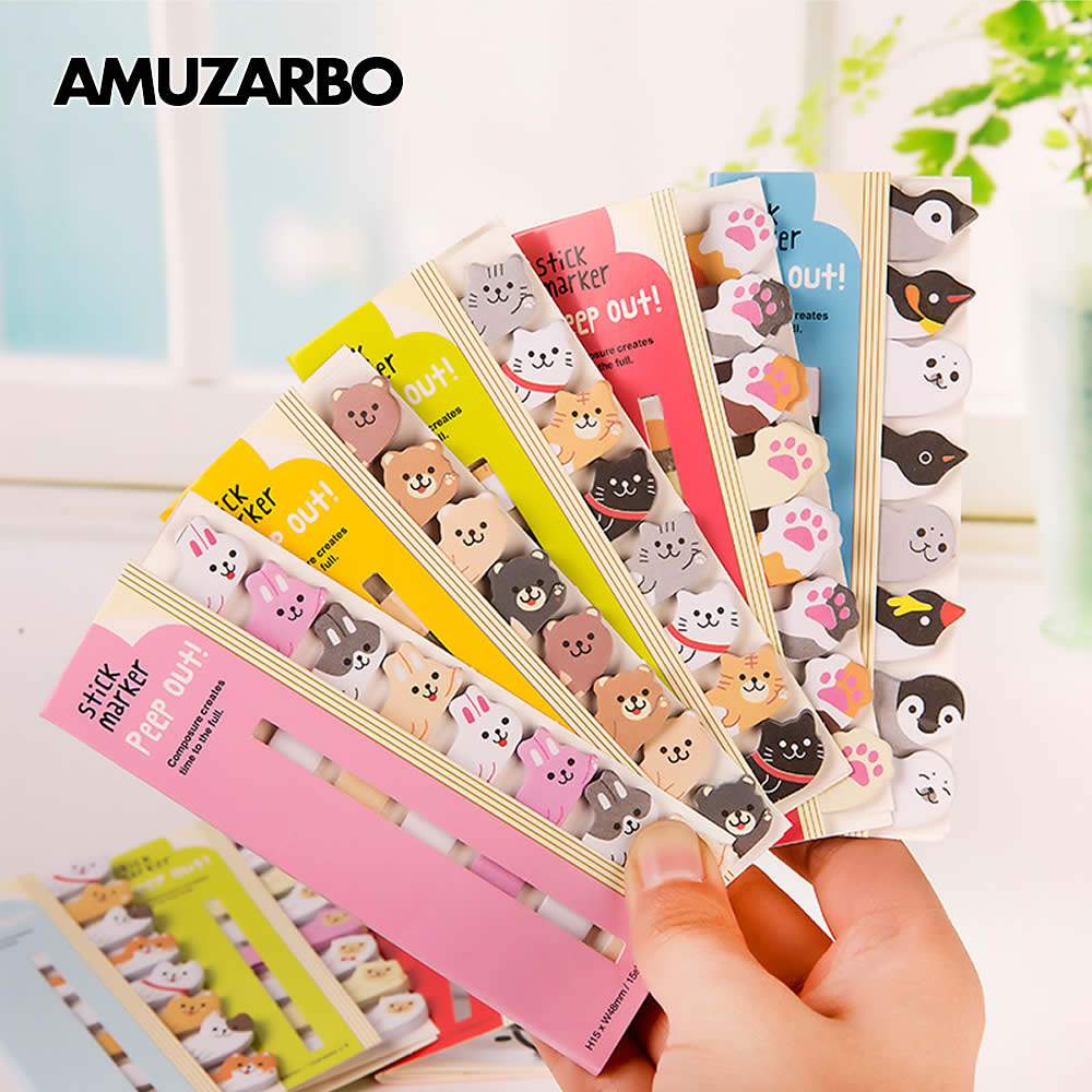 Kawaii Cartoon Animals Sitting In A Row Memo Sticker Notes Memo Notebook Stationery Note Stickers School Supplies