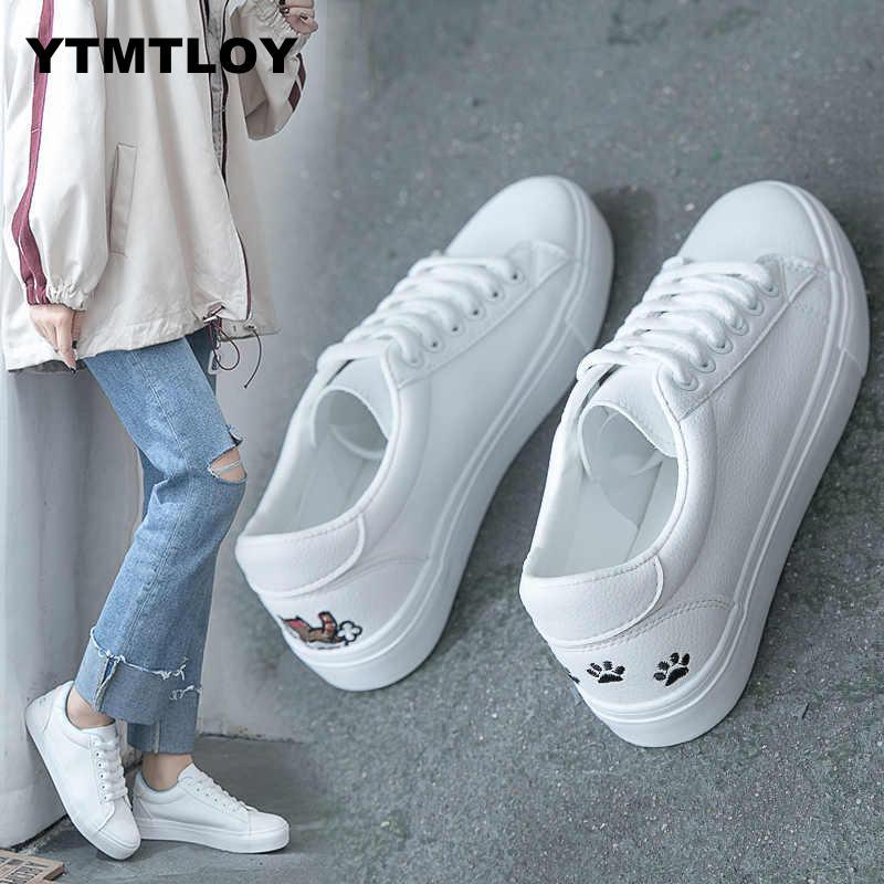 Women Fashion Breathble Vulcanized Shoes Casual Tenis Feminino Zapatos De Mujer Slimming Cheap White Sneakers  Canvas Shoes Cat