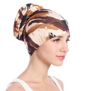 Image 3 - ファッションの女性イスラム教徒脱毛キャップフラワープリントイスラムイスラムターバンヘッドラップカバーがん化学及血キャップボンネットビーニー skullies