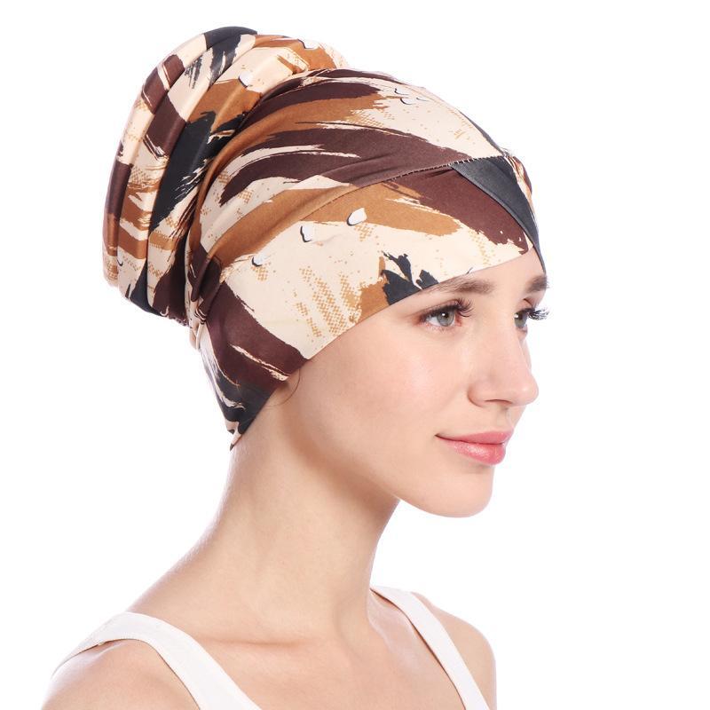 Image 3 - Fashion Women Muslim Hair Loss Cap Flower Print Islamic Islam  Turban Head Wrap Cover Cancer Hat Chemo Cap Bonnet Beanie  SkulliesWomens Skullies
