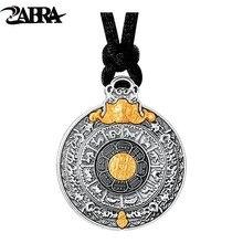 ZABRA Colgante de oro de 24k y plata de ley 999 para hombre y mujer, regalo de buen sentido para hombre, collar de estilo hip hop vintage, joyería