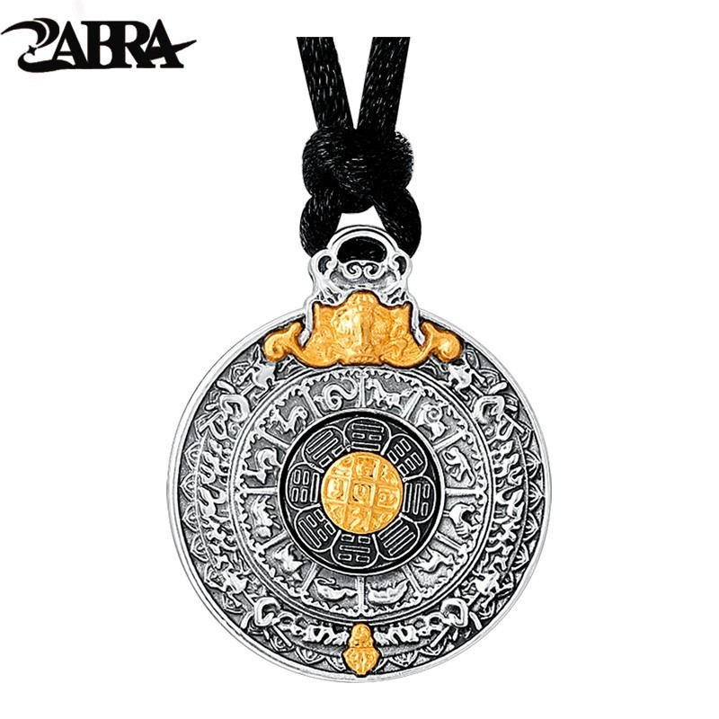 ZABRA Real 24k Gold And 999 Sterling Silver Buddhim Pendant Men Women Good Meaning Gift HipHop Man Vintatge Necklace Jewelry-in Pendants from Jewelry & Accessories