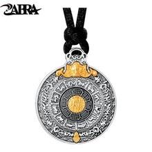 ZABRA prawdziwe 24k złoto i 999 Sterling Silver Buddhim wisiorek mężczyźni kobiety dobre znaczenie prezent HipHop człowiek Vintatge naszyjnik biżuteria