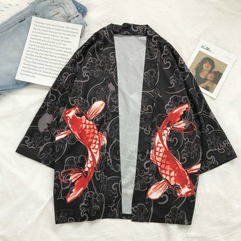 #4207 Summer Japanese Kimono Cardigan Shirt Fish 3d Printed Thin Black Streetwear Harajuku Loose Casual Tunic Male